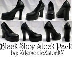Black Shoe Stock Pack by XdemonicXstockX