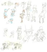Professor Layton Sketches by megamooni