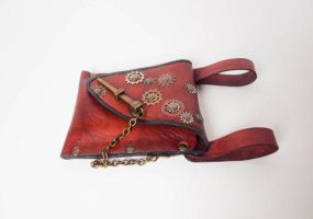 Steampunk leather Belt bag pic3 by lbaker22