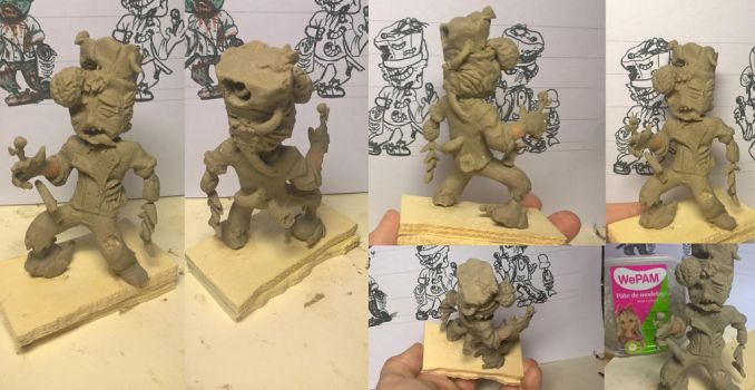 Chef Zombie Sculpture Part 1 (finish work link) by nanananakirby