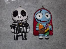 Jack and Sally Couples Pendants by TheFr33KShoW