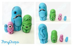 Monster Russian Dolls set of 4 by ponychops