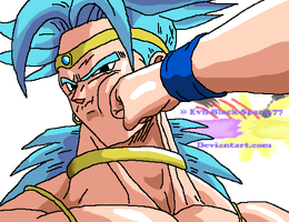 Goku Punches Broly In His Face by Evil-Black-Sparx-77