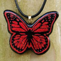 Fused Glass Monarch Pendant by FusedElegance