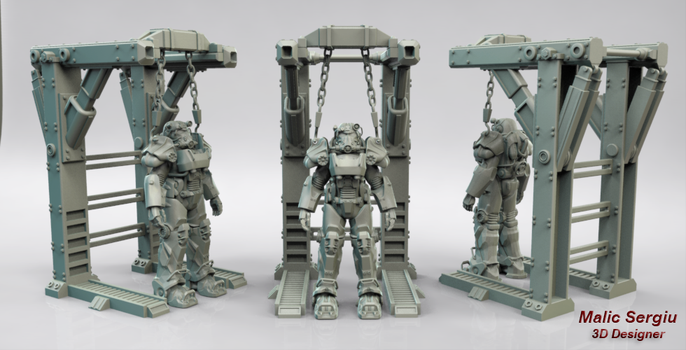 Fallout 4 - T-60 Power Armor 3D Model for printing by cilams