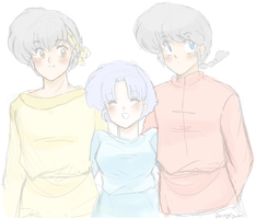 Ryoga Ranma and Akane -sketchy by AngieSan