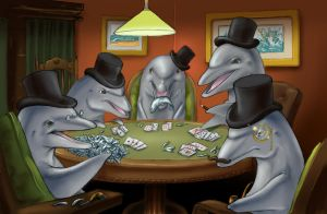 Dolphins Playing Poker by D34tHn0Te