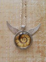 Steampunk pendant with wings by SteamJo
