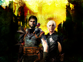 Hawke and Fenris Textured Wall by suicidebyinsecticide