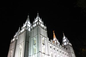 SLC Mormon Temple at Night by rwparker