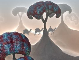 Camel Train to Menger City by stebev