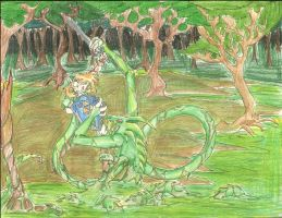 Link vs Swam Creature by nyausi