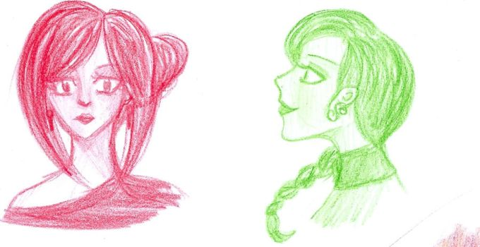 Woman in Red, Woman in Green by IasminGloom