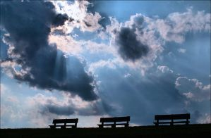 Sun rays over benches by AnimaSoucoyant