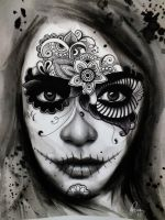 Day of the dead/ El Dia de los Muertos Lady Tattoo by gpreece