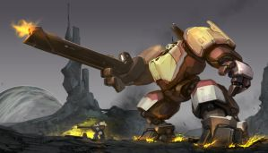 Somewhat yellowish mech by ksenolog