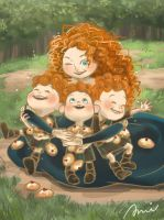 Merida and her bros. by Ami-RoseMelek
