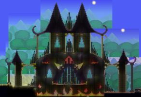 Terraria 1.2 boss arena:  The Organ Grinder by Sherio88