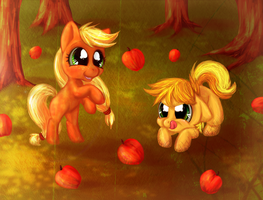 Filly AppleJack and Colt Braeburn and Apples by Arkay9