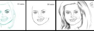 Jenna Coleman Timed Sketch Comparison by F-Stormer-3000