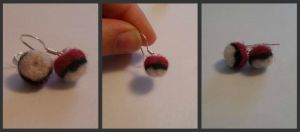 Needle Felted Pokeball Earrings by starlitsunrise