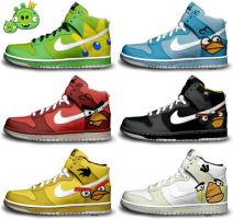 Angry Birds Nike Dunks by kaycunana