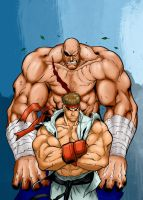 Sagat y Ryu (street fighter II) by aeanchile
