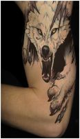 Color tattoo wolf. by PimArt