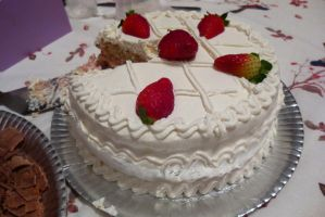 white cake with strawberries by aiko-yume