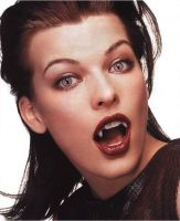 Model/Actress Milla Jovovich with Vampire Fangs by TurlyVamp