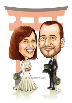 Wedding caricature commission by Soniaka