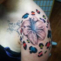 Lily Flower and Cheetah Prints Tattoo by ngoc50