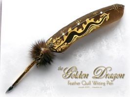 Golden Dragon Tail Feather Pen by ChaeyAhne