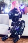 Latex dress livingroom 01 by GuldorPhotography