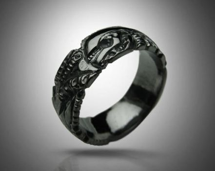 BLACK GIGER - silver biomechanical ring, gothic si by tivodar66