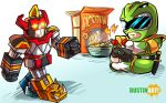 Chibi Green Power Ranger and Robot by DustinEvans