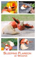 Sleeping Flareon Sculpture by BeeZee-Art