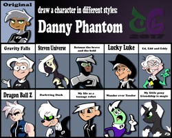 Draw a Character in different style: Danny Phantom by toongrowner