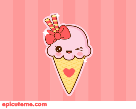 kawaii Strawberry ice cream by Tribrush