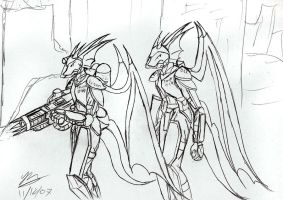 Sketch: Draconian troops by Snowfyre