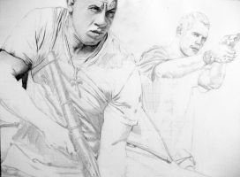 Dominic Toretto and Brian O'Connor WIP 20 % by Sasoriakasuna1