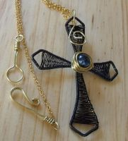 Wire wrapped cross by Craftcove