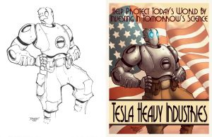 Atomic Robo with lineart by GarryHenderson