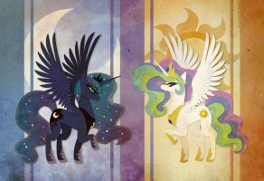 Celestia and Luna by Sleepwalks