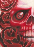 red skull with red flowers by bigjbway23
