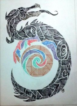 The Dragon { Line Style } by Mgyk