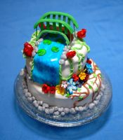 Monet's Garden inspired cake by LamieG
