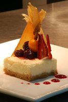 Cheesecake, cherry compote by monkeyheadmushroom