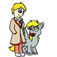 Derpy and the Fifth Doctor by Usagi-Zakura