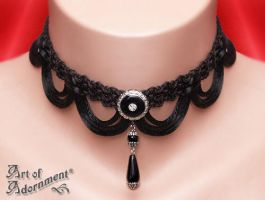 Nocturne Belle Epoque Teardrop Choker by ArtOfAdornment